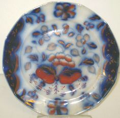 Antique Gaudy Ironstone Staffordshire Flow Blue Plate w/ Copper Luster 19th C