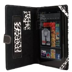 Amazon Kindle Fire Melrose Leather Case. Executive VanGoddy Dauphine Series Portfolio Black & White Leopard Pattern with ALL New Convenience Hand Strap!!
