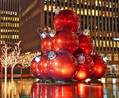 Giant Ornaments on Avenue Of The Americas in Midtown Manhattan photo by evelina kremsdorf