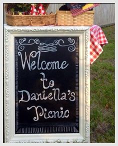 My Daughter Daniella's 2nd Birthday Picnic Theme Party-Welcome Sign~DIY/Decor by Andrea Solano