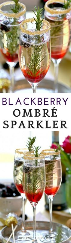 Nothing says holidays like something sparkling! Pop some #champagne and throw in some berries for this beauty recipe! Easy to make and sure to make your guests' jaws drop! #cocktailrecipes
