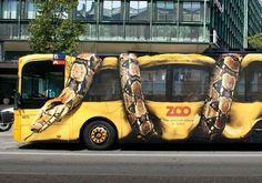 Cool bus advertising! #Copenhagen Zoo #snake #advertisement on a #bus