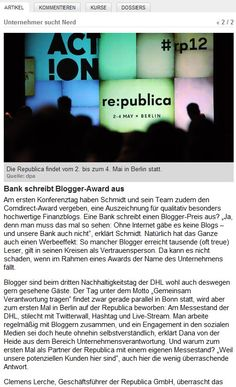 Bank schreibt Blogger-Award aus #rp12