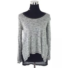 """Cynthia Rowley High-Low Sheer Back Long Sleeve Top MSRP $169.00  Measurements taken in inches: Length: 22.5""""/28.5"""" (high/low) Bust: 36"""" Waist: 38"""" Hips: 44"""" Sleeves: 17""""  - sheer back panel - faux leather trim neckline - uber soft material  NOTE: Small spot found on upper right shoulder. See last photo. Very small, hardly noticeable. May come out in wash.  Thank You. XoXo Cynthia Rowley Tops Tees - Long Sleeve"""