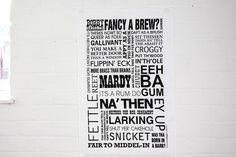 yorkshire dialect modern tea towel by jollysmith   notonthehighstreet.com