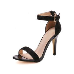 SheIn(sheinside) Black Buckle Stiletto Ankle Strap Sandals ($39) ❤ liked on Polyvore featuring shoes, sandals, heels, sheinside, sapatos, high heels, black, black ankle strap sandals, black high heel shoes and peep toe sandals
