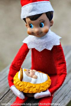 Elf on the Shelf Ideas - Elf Cradles Baby Jesus. This easy Elf on the shelf Idea and other daily photos on Frugal Coupon Living. Print out FREE Elf Notes too.