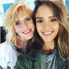 Motherly love: Jessica Alba shared a pic on Instagram with her mom, Cathy Alba captioned, 'With my sweet mamacita @cathyalba at work today -she's always laying down wisdom on me -whether I like it or not'