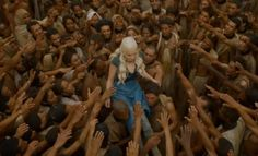"Mhysa - Game of Thrones - Season Three: Episode 10/Season Finale  - The former slaves of Yunkai elevate Dany and proclaim her Mhysa, which is ""Mother"" in the old tongue of Ghiscari. The dragons soar overhead."