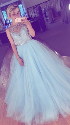 Modest Prom Dresses,High Low Prom Dresses,Light Blue Tulle Beaded Prom Dresses,A-line Elegant Evening Dresses,Charming Prom Gowns,Pincess Prom Dress,Party Dresses,Prom Dresses 2017,Cute Dresses