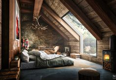 attic-bedroom-with-slanted-exposed-beam-ceiling-and-rough-wall_curved-window_mattress-bed_gray-quilt_large-wall-art_industrial-style-fireplace_glossy-tile-floor_tangled-horn-chandelier_wooden-block-stool.jpg (1215×847)