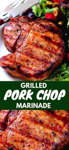 Grilled Pork Chop Marinade will make your grilled pork chops tender, juicy and delicious. Grilled Pork Chop Marinade will make your grilled pork chops tender, juicy and delicious. Grilled Pork Steaks, Grilled Meat, Grilled Recipes, Grilled Pork Chops Boneless, Marinade Porc, Pork Loin Marinade, Simple Pork Chop Marinade, Marinate For Pork Chops, Pork Recipes