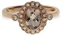 #Jewelry #Rings 14k Rose Gold Oval Morganite and Diamond Filigree Ring