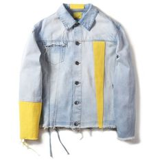 """17SS """"SOUR BULLET"""" YELLOW SLEEVE DENIM JACKET ($300) ❤ liked on Polyvore featuring outerwear, jackets, denim jacket, colorblock jackets, blue jackets, bullet jackets and yellow jacket"""