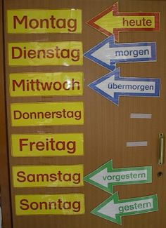 Good idea to help learn time expressions German Grammar, German Words, Classroom Organisation, Classroom Management, German Resources, German Language Learning, School Calendar, World Languages, Learn German