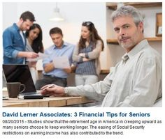 Studies show that the retirement age in America in creeping upward as many seniors choose to keep working longer. The easing of Social Security restrictions on earning income has also contributed to the trend of retirees who stay in the labor market to supplement their income and secure their lifestyle later in life.