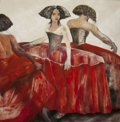 "red - ""meninas"" - ""Guardainfanta"" - figurative painting -  Sol Úbeda,"