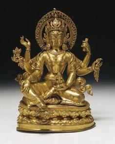 Vasudhara. Nepal, 16th century. Gilt copper, h. cm. 21,5. London, V&A.