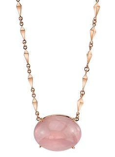 Necklace in 18k gold with rose quartz by Karma El Khalil