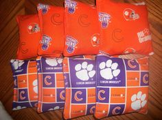 clemson cornhole bags to match our tables!!!