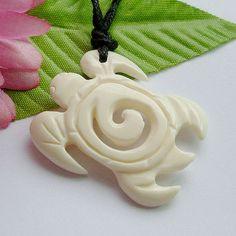 @Olivia Tacy Handmade Carved Bone Sea Turtle Pendant New by jewelrybycraft, $16.95