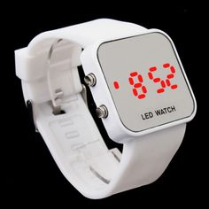 White Sport Style Mirror Surface Silicone LED Digital Watch for Women and Men