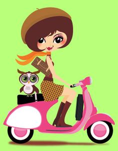 Scooter girl + owl...reminds me of my highschool ride!!