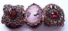 Stretch Filegree Burgandy Cameo Bracelet