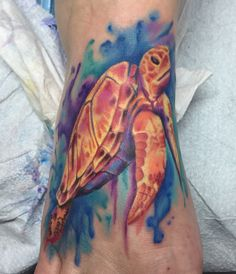 Watercolor sea turtle by Graham Fisher, Hot Rod Tattoo, Blacksburg, VA. #watercolor #watercolortattoo #foottattoo #seaturtletattoo