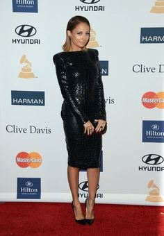 The Stars Glam It Up For Clive Davis's Pre-Grammy Party: Nicole Richie looked as slick as ever in a black croc-embossed Tom Ford dress with patent Christian Louboutin pumps and a House of Harlow clutch.