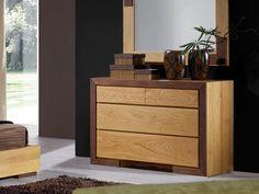 Commode 4 tiroirs Ruban en chêne massif et bois de noyer - Meubles Bois Massif