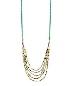 Look what I found on #zulily! Turquoise & Goldtone Beaded Bar Necklace #zulilyfinds