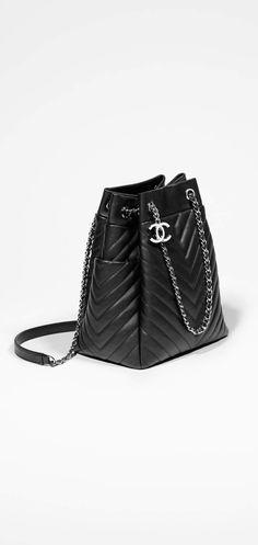 Bolso con cierre tipo cordón, piel de ternera-negro - CHANEL