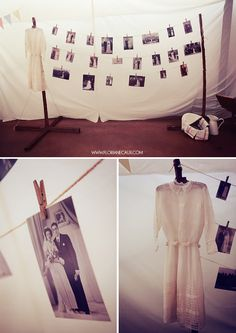 such a cute idea. hang old wedding photos from family. i wish i still had my grandma's wedding dress. her picture was a featured photo in the newspaper.