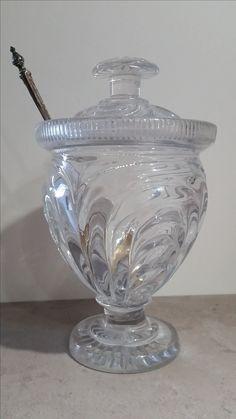 Confiturier en cristal du Montcenis et sa cuillère à confiture en argent, circa 1825
