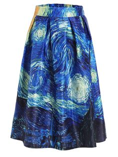 The Starry Night Print Box Pleated Skirt.