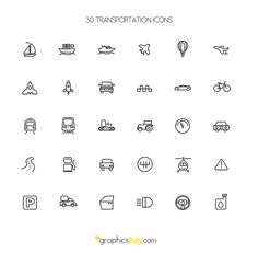 30 Freebie Transport Icons http://dlpsd.com/30-freebie-transport-icons/
