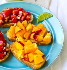 Citrus Peach & Balsamic Tomato Bruschetta.