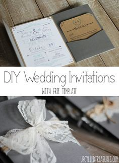 like the typography on these, could use for other than wedding invites. DIY Wedding Invitations with FREE Template - UpcycledTreasures.com