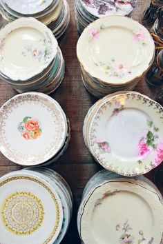 Mixed vintage china: http://www.stylemepretty.com/2015/04/22/unique-ideas-for-an-eco-chic-wedding/::