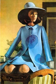 blue dress, coat and hat; Benedetta Barzini photographed by Henry Clarke for Vogue US, 1968 fashion; blue dress, coat and hat; Benedetta Barzini photographed by Henry Clarke for Vogue US, 1968 Foto Fashion, 60 Fashion, Fashion History, Fashion Models, Womens Fashion, Fashion Coat, Sporty Fashion, Winter Fashion, Style Année 60