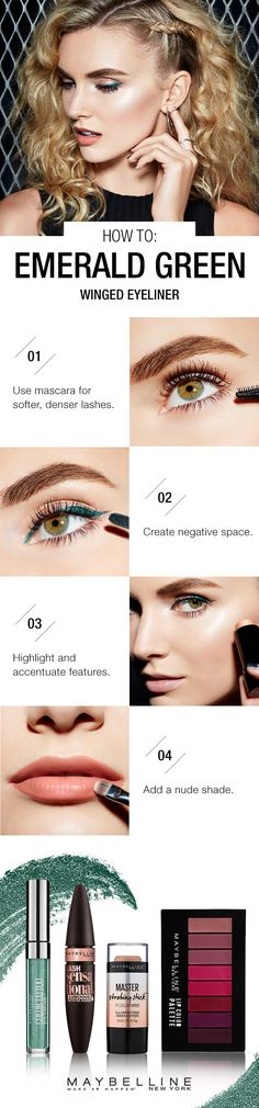 Rock an emerald eye this fall with a twist, creating a negative space liner look. Makeup 101, Lots Of Makeup, Drugstore Makeup, Makeup Ideas, Simple Everyday Makeup, Simple Makeup, Easy Makeup Tutorial, Makeup Tutorials, Kendall Jenner
