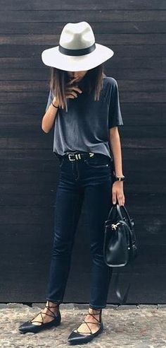 cool outfit: hat + t-shirt + skinnies + bag