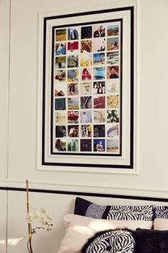 Use cool pics to create an inspiration wall just like designers do. Keep it elegant, not messy, by taping off an area with black tape and then arranging your photos neatly in rows.