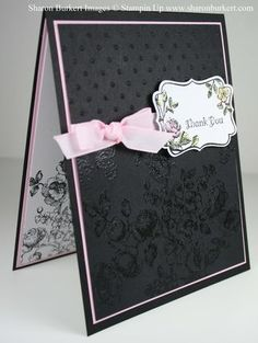 This classy Elements of Style card by Sharon features clear embossing on black card stock - wow!