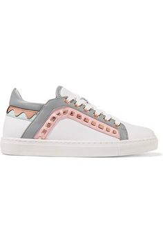 Sophia Webster - Riko Metallic-trimmed Leather Sneakers - White - IT38.5