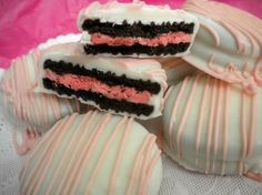 White Chocolate Covered Berry Burst Oreos Easter Cookies Pink Drizzle Baby Shower Party Favors It's a Girl