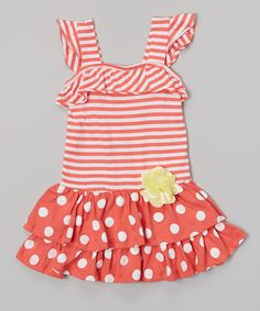 This Coral Polka Dot Stripe Ruffle Dress - Infant & Toddler by Samara is perfect! #zulilyfinds. $10.99, 12mos-4T