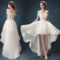Prom Dresses Beautiful, Dramatic White Wedding Dress,High-Low Bridal Dress,Lace Off The Shoulder Wedding Dress,Appliques Organza Bridal Dress Prom Formal EFuXuan Wedding Robe, Wedding Gowns, Lace Wedding, Party Gowns, Wedding Venues, Civil Wedding, Wedding White, Wedding Bridesmaids, Trendy Wedding