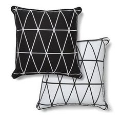 Monochrome Geo Print Cushion - Reversible